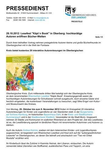 Pressedienst des Oberbergischen Kreises - Käpt'n Book Lesefest