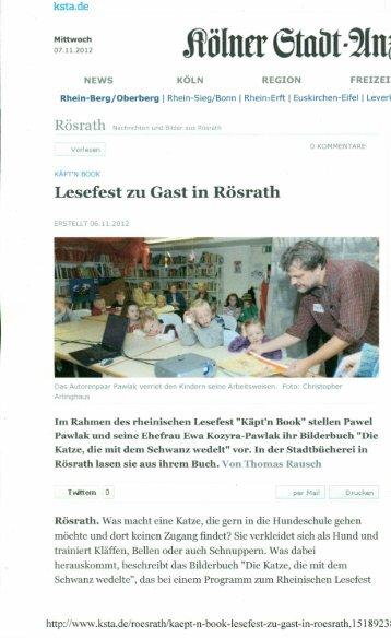 Lesefest ZU Gast in Rösrath - Käpt'n Book Lesefest