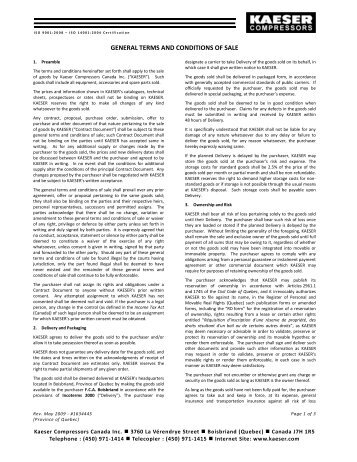 GENERAL TERMS AND CONDITIONS OF SALE - kaeser