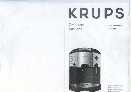 krups siziliana f 860 инструкция