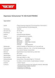 Espresso-Vollautomat TX 550 ELECTRONIC - Kaffeevollautomaten ...