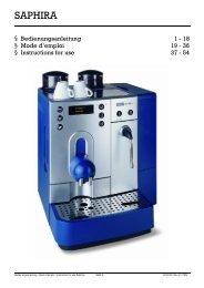 Bedienungsanleitung Saphira Mask 4 Rev D - Kaffeevollautomaten ...
