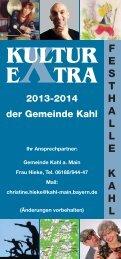 Kultur Extra 2013-2014.indd - Gemeinde Kahl am Main