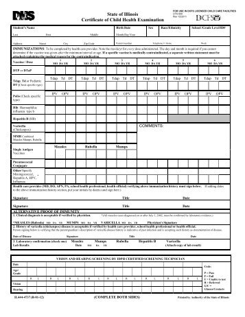 Certificate of Child Health Examination (School Physical Form