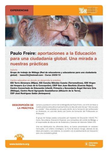 Paulo Freire: aportaciones a la Educación para una ... - Kaidara