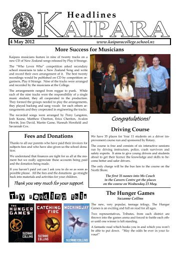 Weekly News 4 May 2012