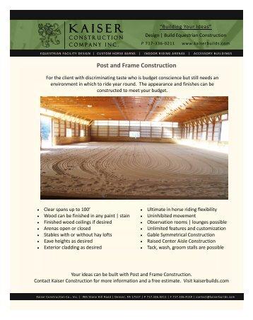 Post Frame Brochure (PDF) - Custom Horse Barn Builder ...