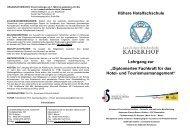 Broschüre Deutsch - Landeshotelfachschule Kaiserhof
