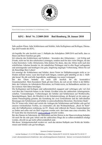 KFG – Brief Nr. 2/2009-2010 Bad Homburg, 28. Januar 2010