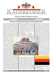 Zeitung für Politik, Wirtschaft und Kultur Warum ... - beim Kaiserkurier