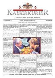 Zeitung für Politik, Wirtschaft und Kultur - beim Kaiserkurier
