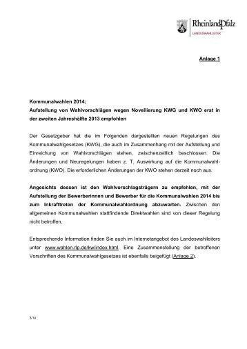 Aufstellung von Wahlvorschlägen wegen Novellierung KWG und ...