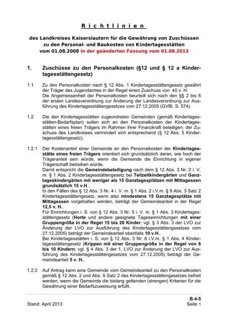 Kindertagesstätten (Zuschussrichtlinien) - Landkreis Kaiserslautern