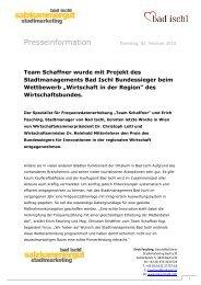 Wirtschaft in der Region Bundessieger - Stadtmanagement Bad Ischl