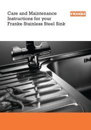 Care and Maintenance Instructions for your Franke Stainless ... - KAL
