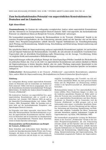 Zum heckenfunktionalen Potenzial von ... - Kalbų studijos