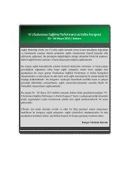 IV. Uluslararası Sağlıkta Performans ve Kalite Kongresi 2. Duyuru ...