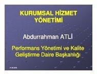 Kurumsal Hizmet Yönetimi/Abdurrahman Atlı - Sağlıkta Kalite ve ...