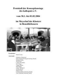 Protokoll der Konzeptionstage des Kalkspatzen vom ... - Kalkspatz e.V.