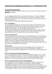 Protokoll der Vorstandssitzung Kalkspatz e.V in Piesenkam 8.12.06
