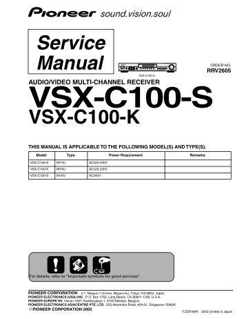 pioneer vsx-815 service manual