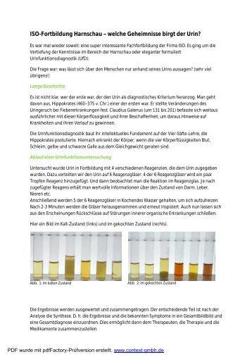 Welche Geheimnisse hält der Urin bereit? - Naturheilpraxis Kallmeyer