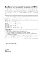 Kvalitetsredovisning för läsåret 2006/2007 - Kalmar kommun