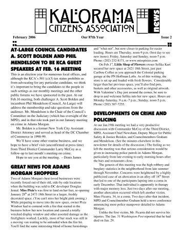 2006 DUES ARE NOW DUE! - Kalorama Citizens Association