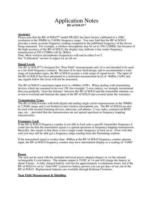 RF id SOLO Application Notes - Kaltman Creations LLC