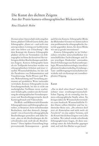 Die Kunst des dichten Zeigens - Mohn, Elisabeth