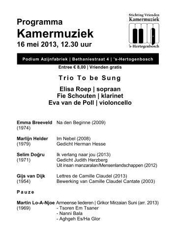 16 mei 2013ALdef, To be Sung - Kamermuziek