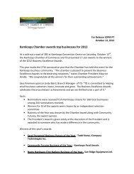 winners - Kamloops Chamber of Commerce