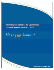 Membership Benefits 2010 - Kamloops Chamber of Commerce