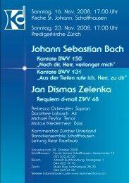 Flyer - Kammerchor Zürcher Unterland