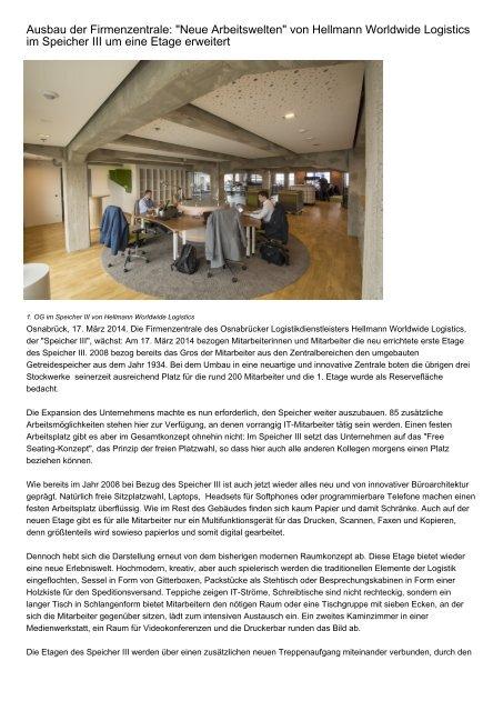 """Ausbau der Firmenzentrale: """"Neue Arbeitswelten"""" von Hellmann Worldwide Logistics im Speicher III um eine Etage erweitert"""