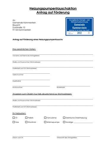 Formular Pumpentauschaktion - Gemeinde Kammerstein