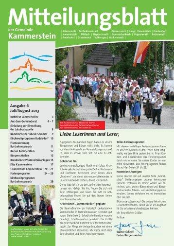 Mitteilungsblatt Juli 2013 (PDF) - Gemeinde Kammerstein