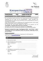 aanvraag tot subsidiëring van kampenhoutse sportverenigingen