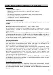 Verslag Raad van Bestuur Sportraad 21 april 2009 - Gemeente ...