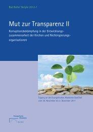 Mut zur Transparenz II - Transparency International