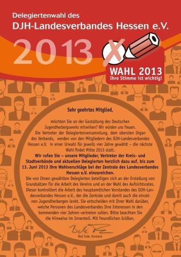 Flyer Delegiertenwahl 2013 - Die Jugendherbergen in Hessen