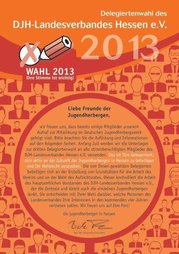 Flyer Kandidatenliste Wahl 2013 - Die Jugendherbergen in Hessen
