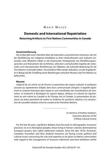 Domestic and International Repatriation - Gesellschaft für Kanada ...