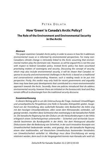 'Green' is Canada's Arctic Policy? - Gesellschaft für Kanada-Studien