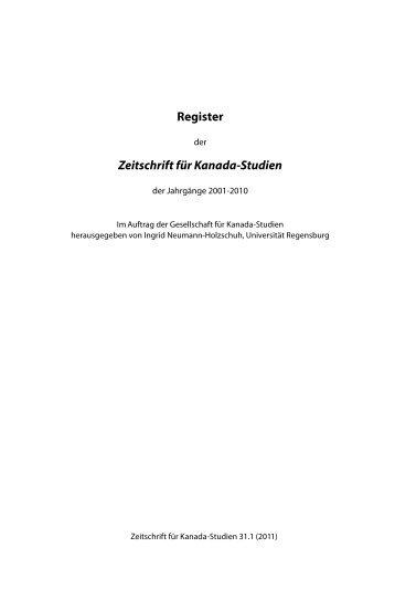 Register 2001-2010 - Gesellschaft für Kanada-Studien