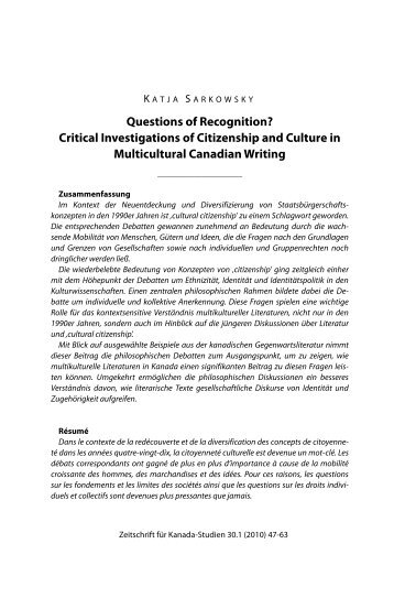 Questions of Recognition? - Gesellschaft für Kanada-Studien