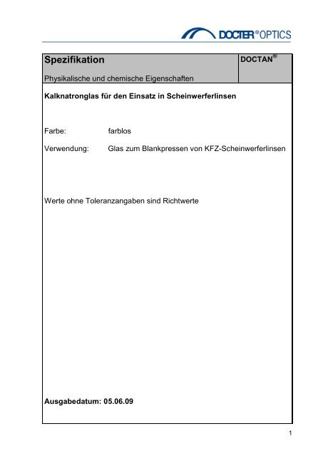 Spezifikation - Docter® Optics