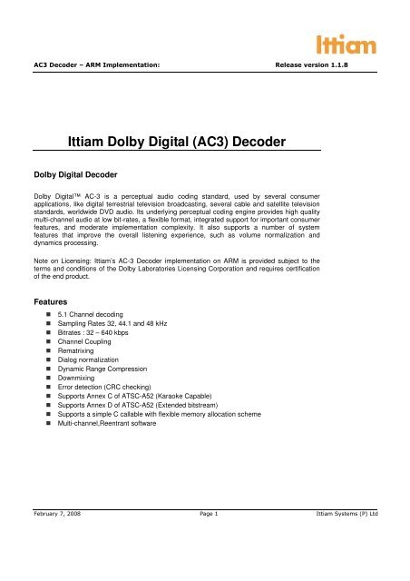 Ittiam Dolby Digital (AC3) Decoder - Kane Computing Ltd