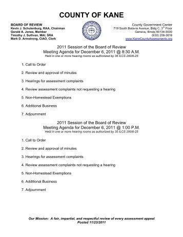December 6, 2011 - Kane County Supervisor of Assessments