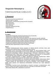 2013 Toimintasuunnitelma - Kangasalan Ratsastajat ry
